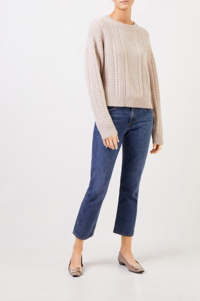 Uzwei Cashmere pullover with cable stitch Beige