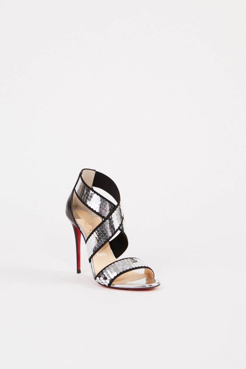 Sandalette 'Xili' mit Paillettendetails Schwarz/Silber