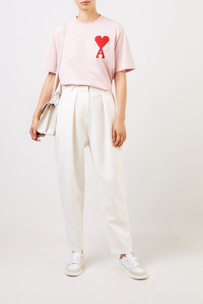 Ami Cotton shirt with embroidery Light Pink
