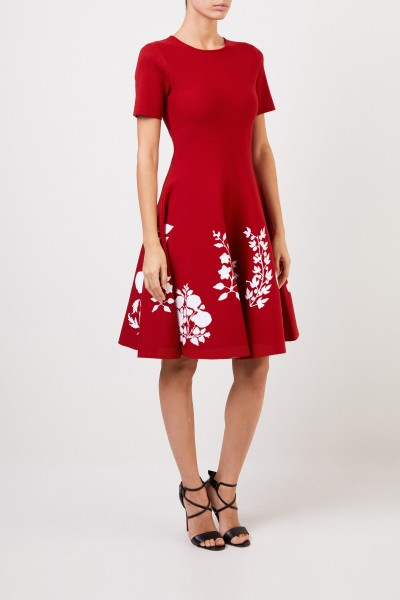 Oscar de la Renta Knitted dress with floral print Red/White