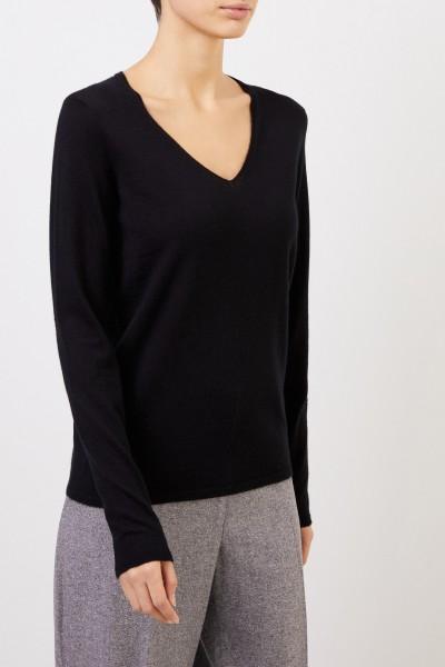 Iris von Arnim Cashmere pullover 'Roxbury' with V-neck Black