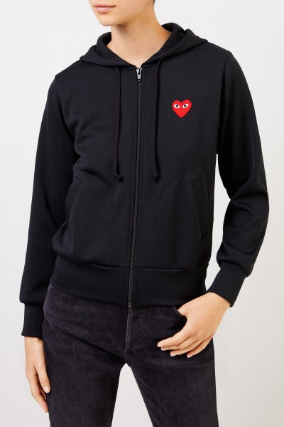 Comme des Garcons Play Sweat Jacket with Heart Emblem Black