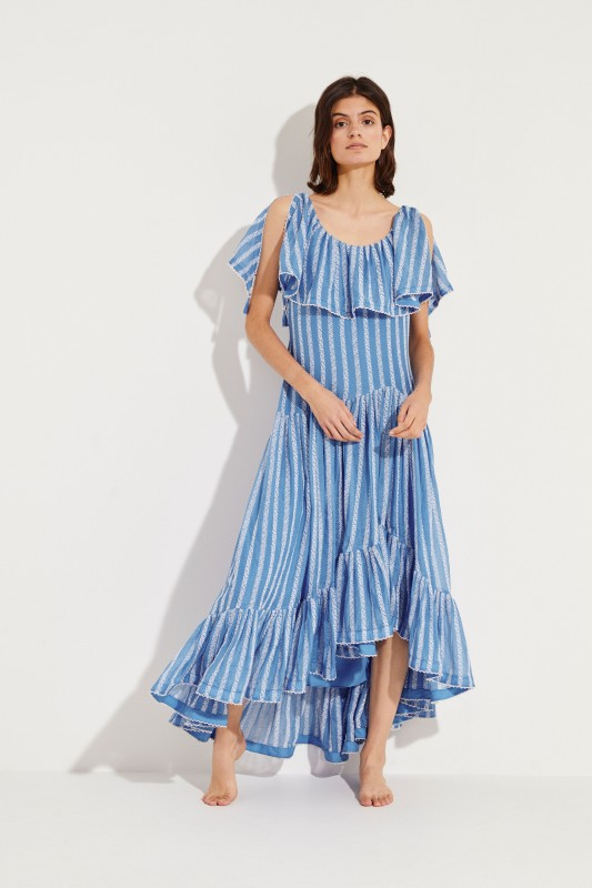 Maxi-Kleid mit Stickerei Blau/Weiß