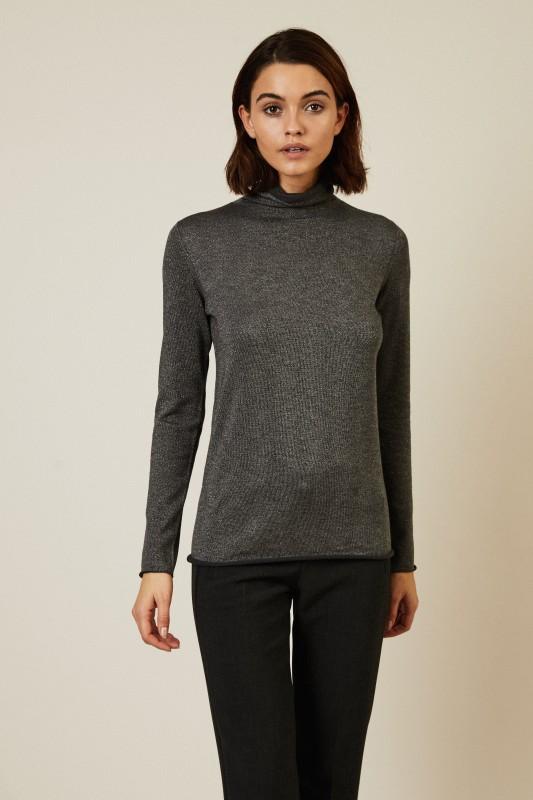 Woll-Rollkragenpullover Grau