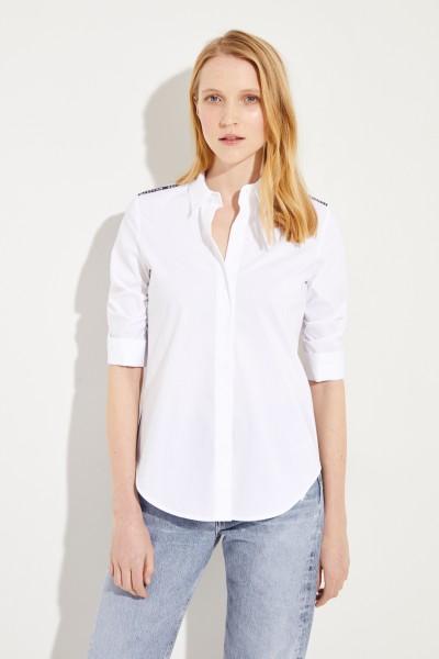 Baumwoll-Bluse mit Logo-Details Weiß/Schwarz