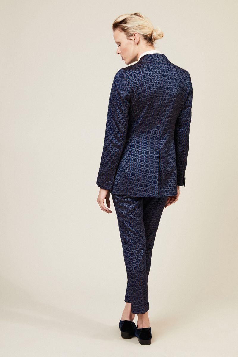 Taillierter Blazer mit Muster Blau
