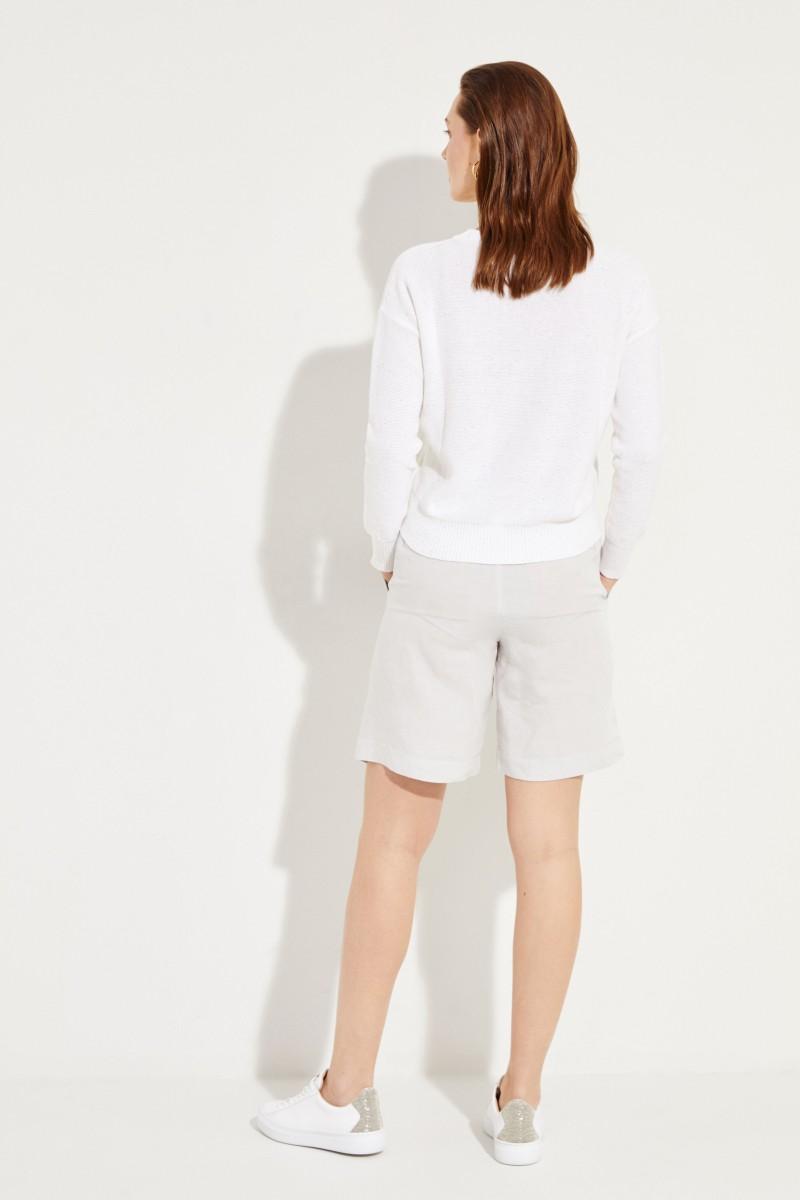 Baumwoll-Leinen-Pullover mit Pailletten-Details Weiß
