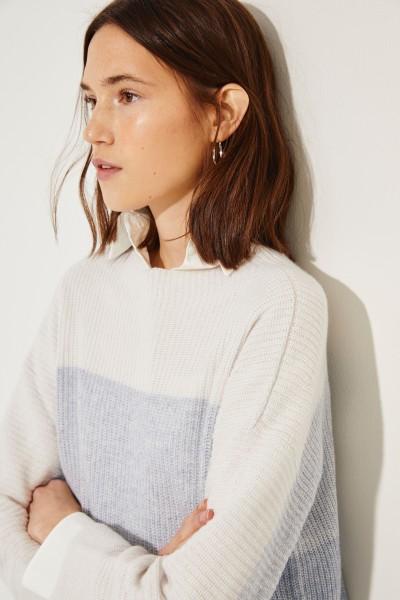 Cashmere-Leinen-Pullover Blau/Weiß