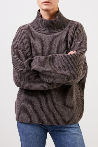Maison Kitsuné Wool pullover with turtleneck Brown