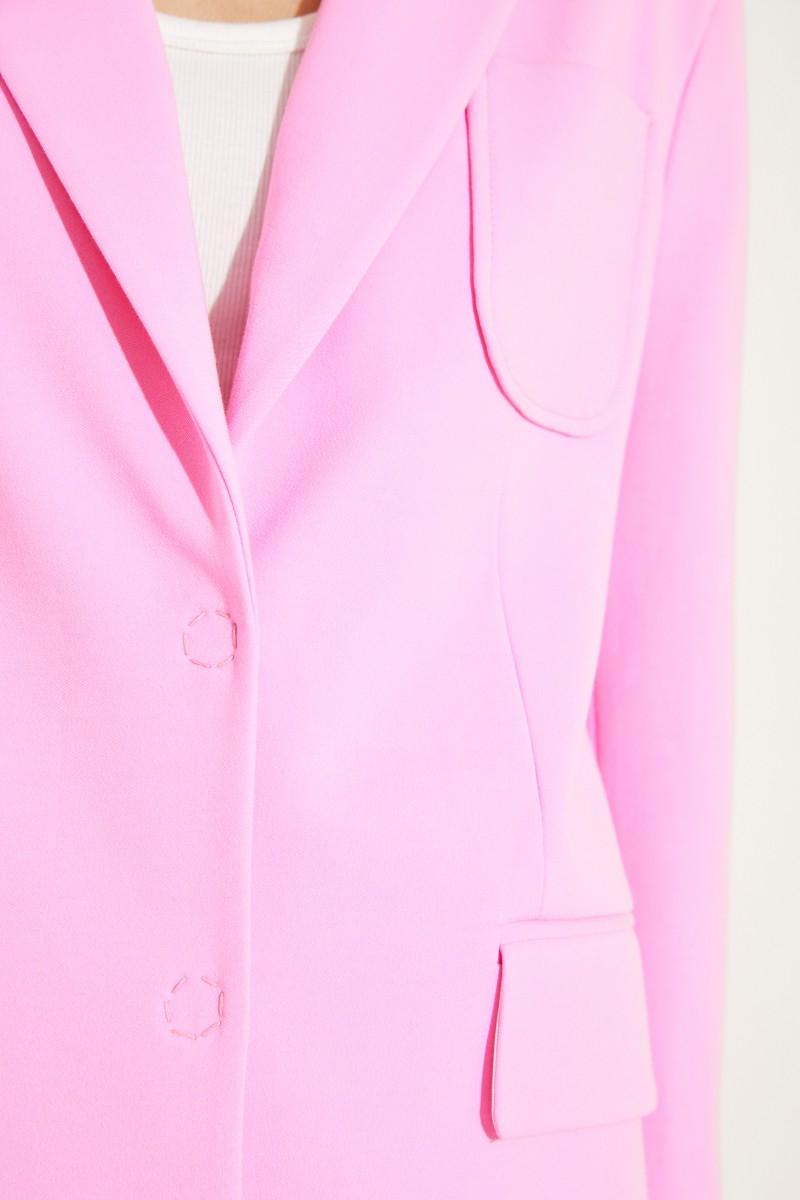 Langer Baumwoll-Blazer Rosé