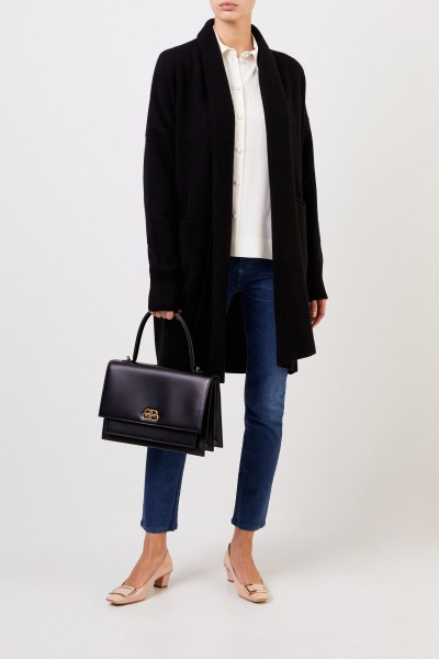 Wool cashmere knitted coat with belt Black