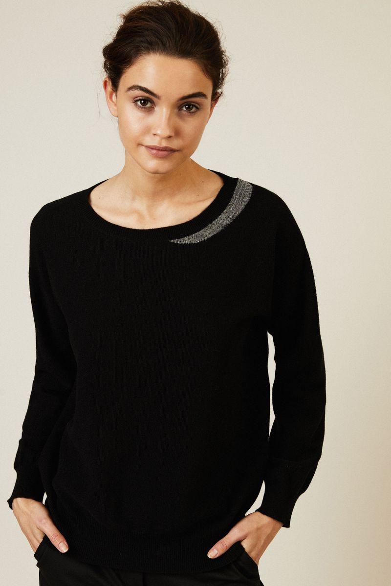 Woll-Pullover mit Perlendetails Schwarz