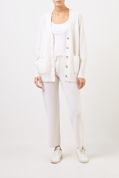 Cashmere pants with mesh knit White