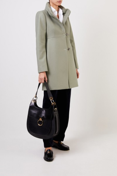 Fay Wool coat with striking closures sage