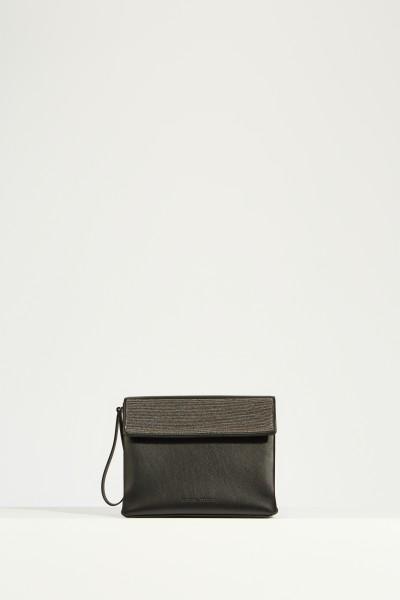 Shoulder bag with pearl decoration Black