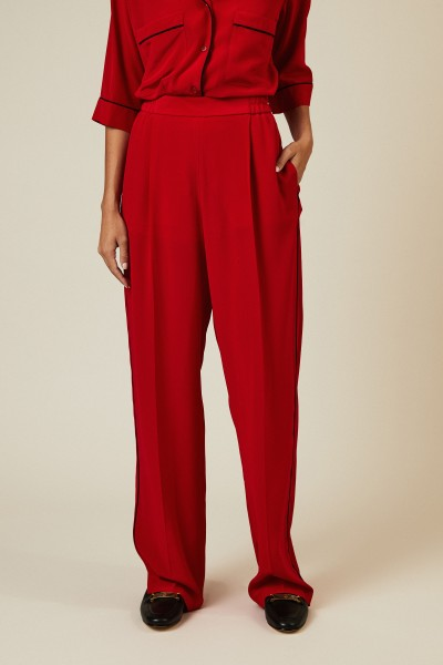 Seiden-Hose mit Streifendetails Rot