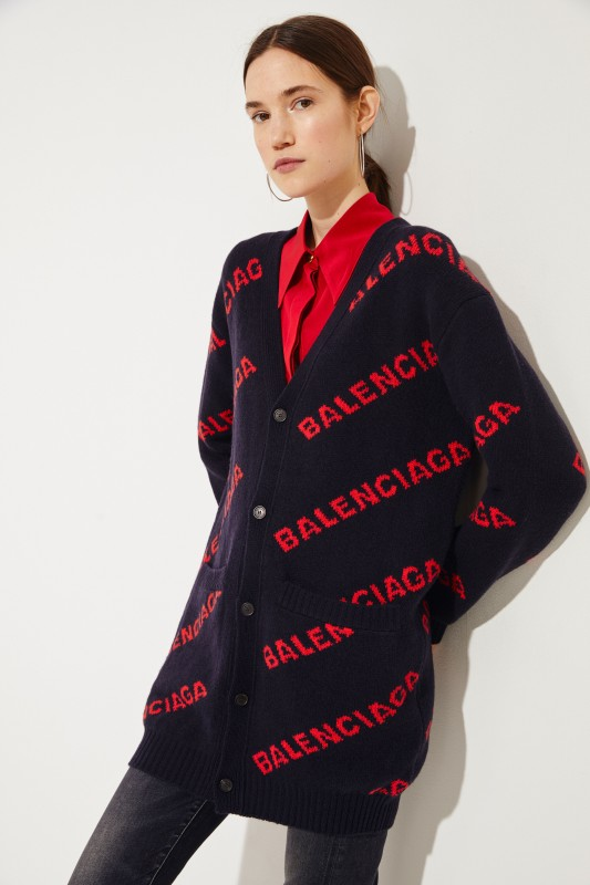 Woll-Cardigan Schwarz/Rot