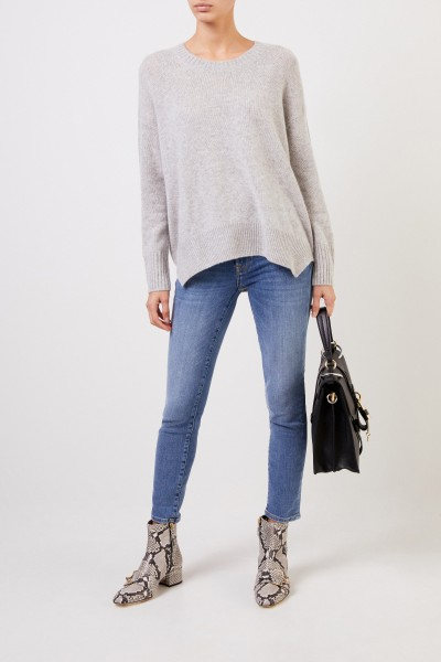 Cashmere pullover with slit hem Light grey
