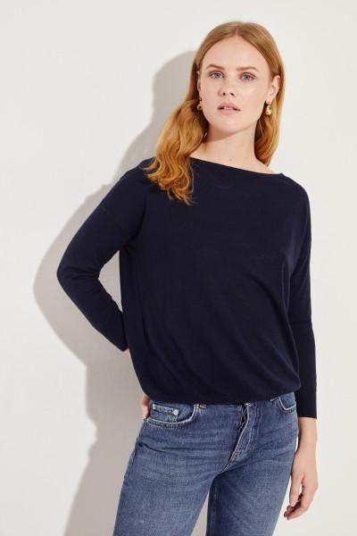 Seiden-Cashmere-Pullover Marineblau