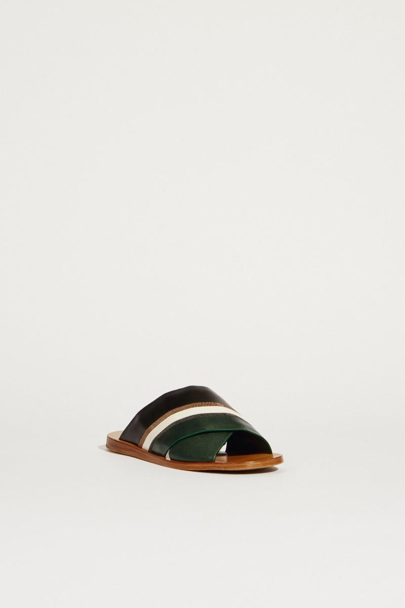 Leder-Mule mit Perlenverzierung Grün