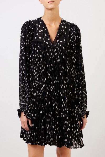 Stella McCartney Pleated dress with dot pattern Black/White