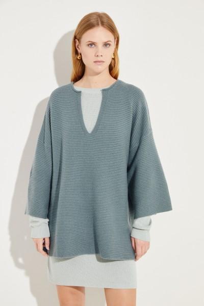 Oversize Woll-Cashmere-Pullover Grün