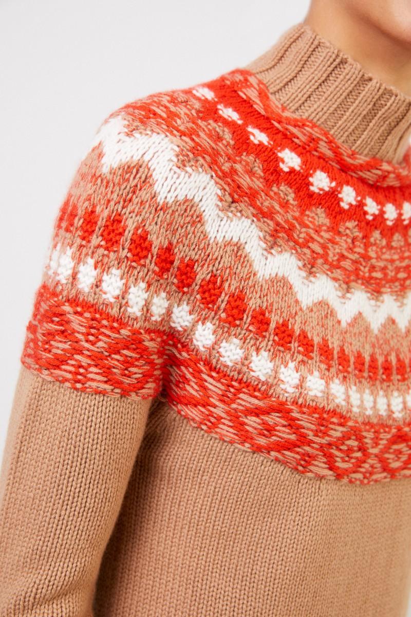 Iris von Arnim Handstrick Cashmere-Pullover 'Herti' Camel/Multi