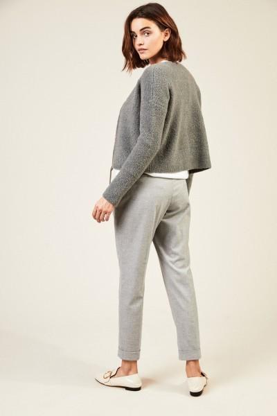 Kurze Woll-Jacke mit Lederdetail Grau