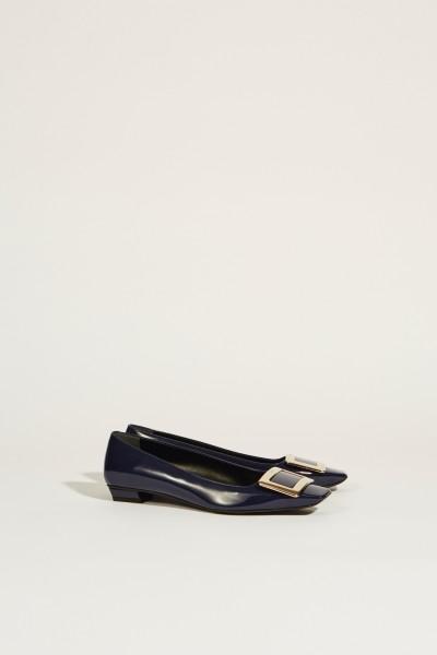 Lackleder-Flat 'Belle Vivier' mit Schnalle Marineblau