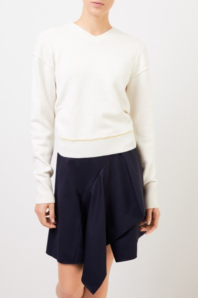 Chloé Wool cashmere pullover with v-neck Soft White