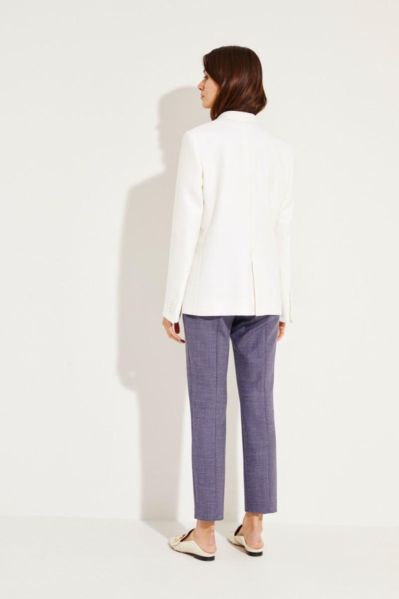 Woll-Blazer mit Glencheck Weiß