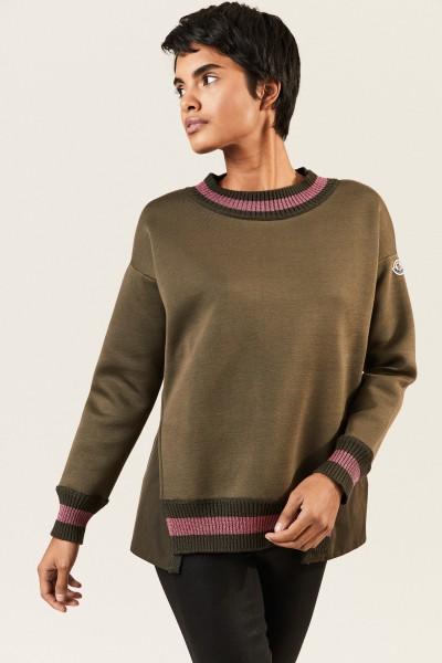 Sweatshirt mit Lurexdetails Khaki/Pink