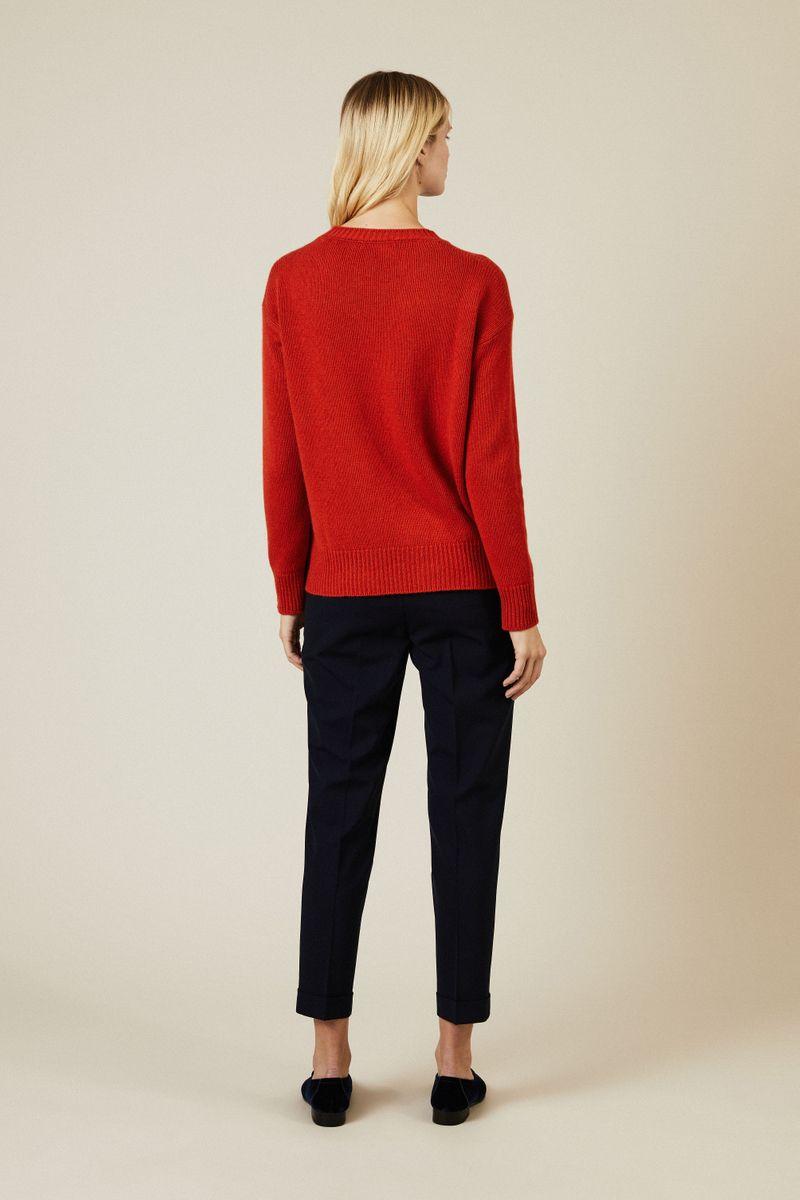Woll-Pullover mit Knopfdetails Orange