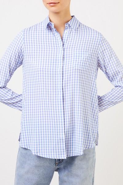 Kimmich Trikot Karierte Seiden-Bluse Blau/Weiß
