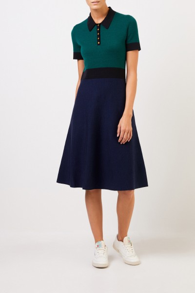 Tory Burch Wool knitted dress with collar Blue/Green