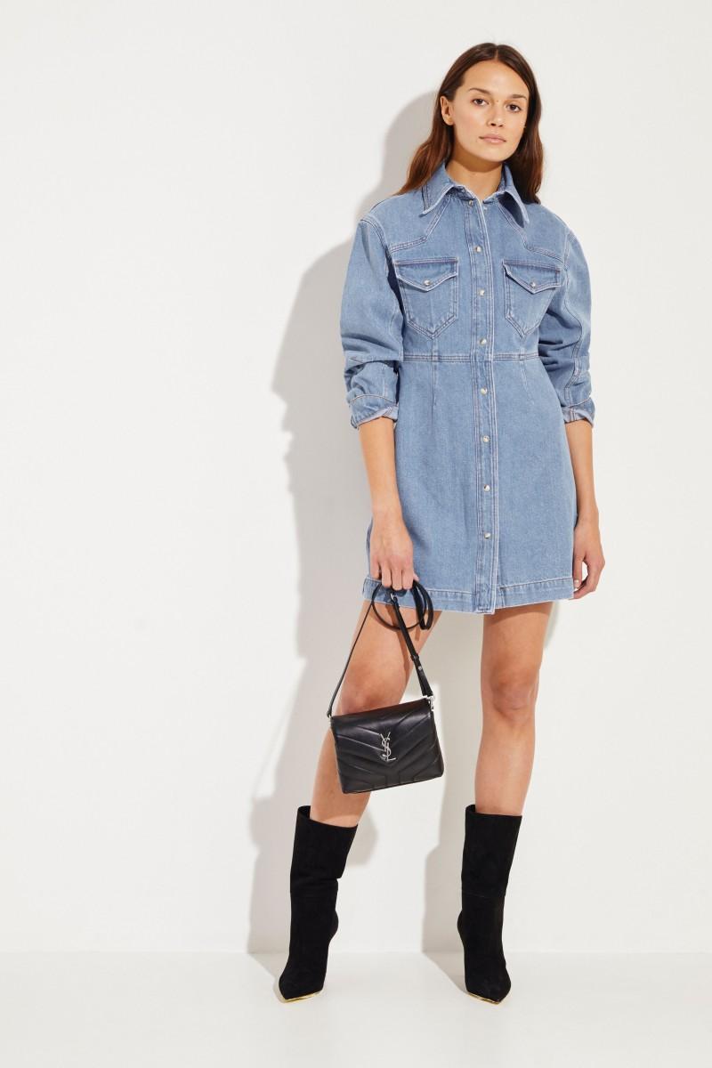 Jeans-Hemdblusenkleid 'Vilma' Blau