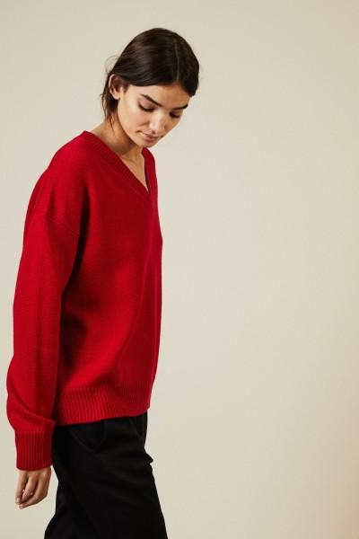 Oversize V-Neck Pullover Rot