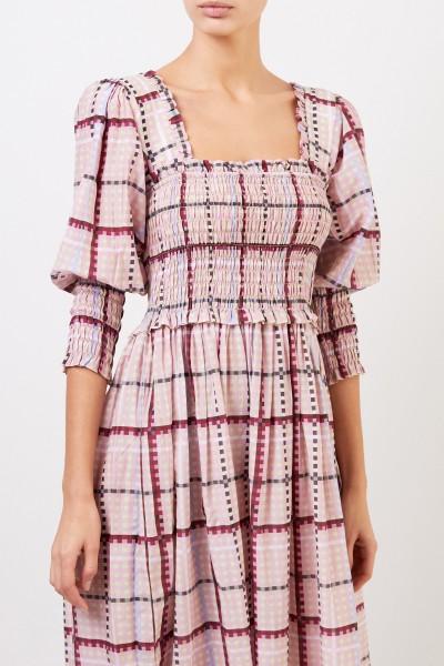 Ganni Long cotton silk dress with check pattern Multi