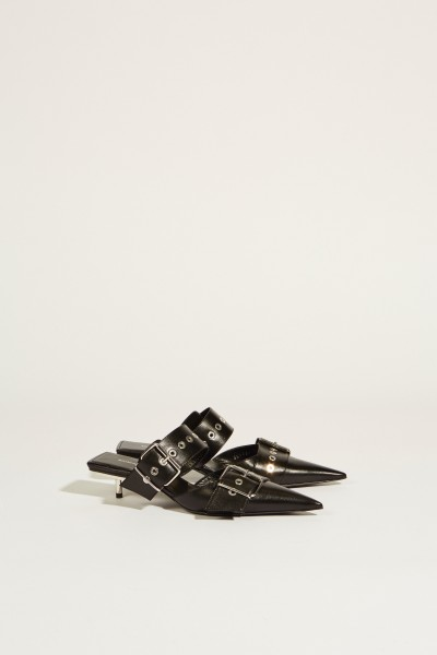 Balenciaga Leather mule with buckles Black