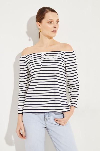 Gestreiftes Shirt mit Carmenausschnitt Marineblau/Weiß