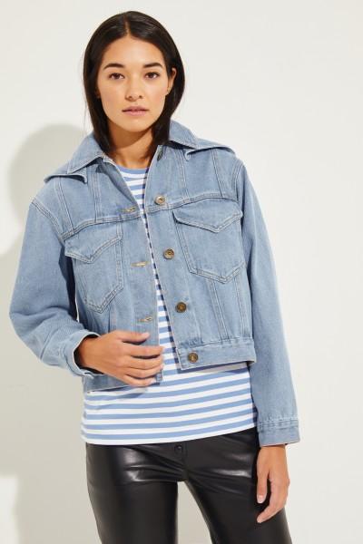 Denim jacket 'Mijave' with hood Blue
