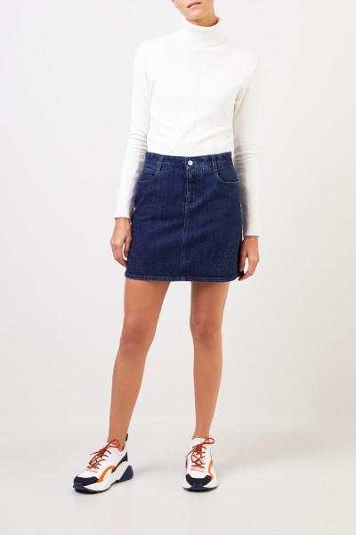 Stella McCartney Short jeans skirt with star motive Blue