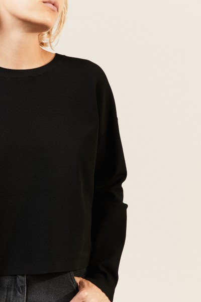 Crop-Shirt 'Perty' Schwarz