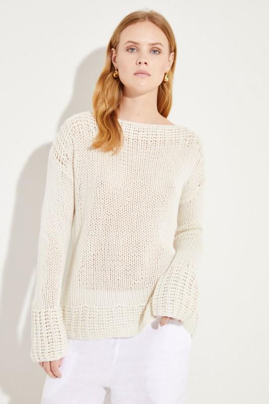 Handstrick-Cashmere-Pullover Crème