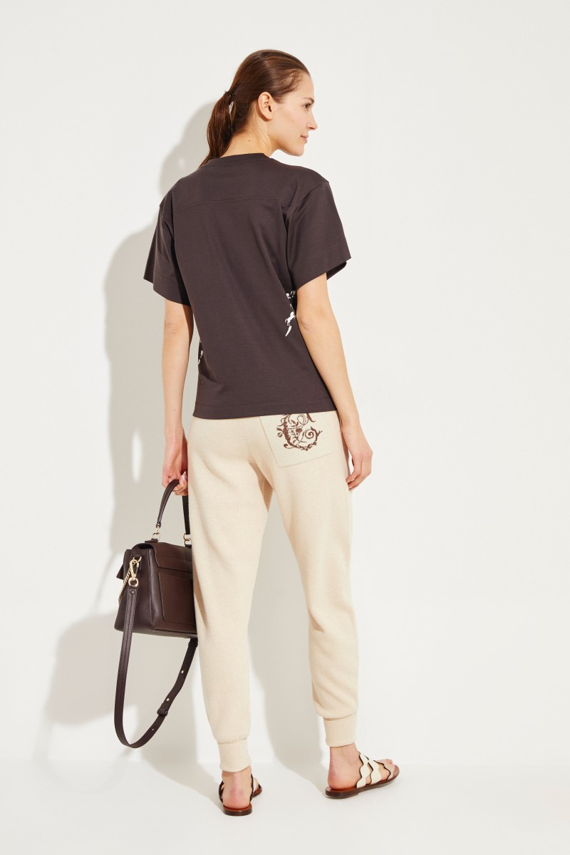 T-Shirt with horse print Brown