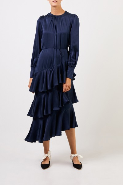 Zimmermann Midi silk dress with flounces Blue