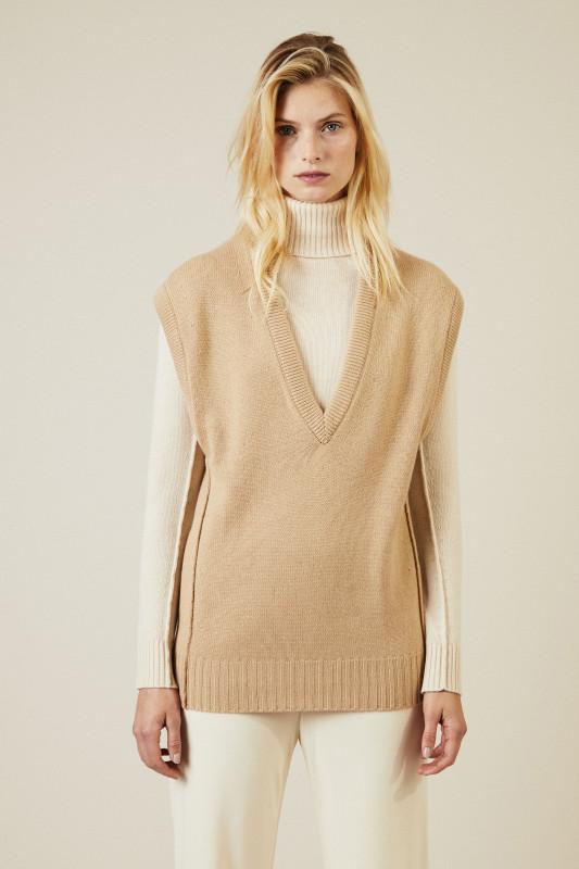 Cashmere-Woll-Pullover Braun