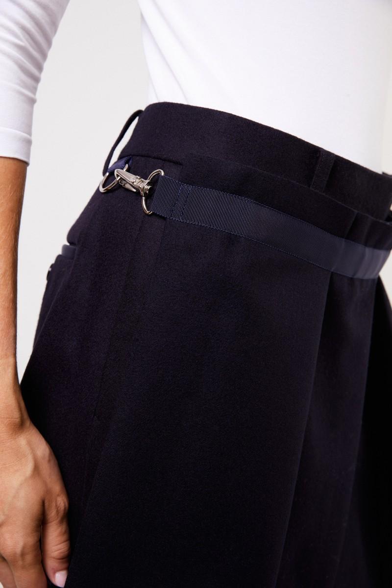 Sacai Woll-Hose mit Detail Marineblau