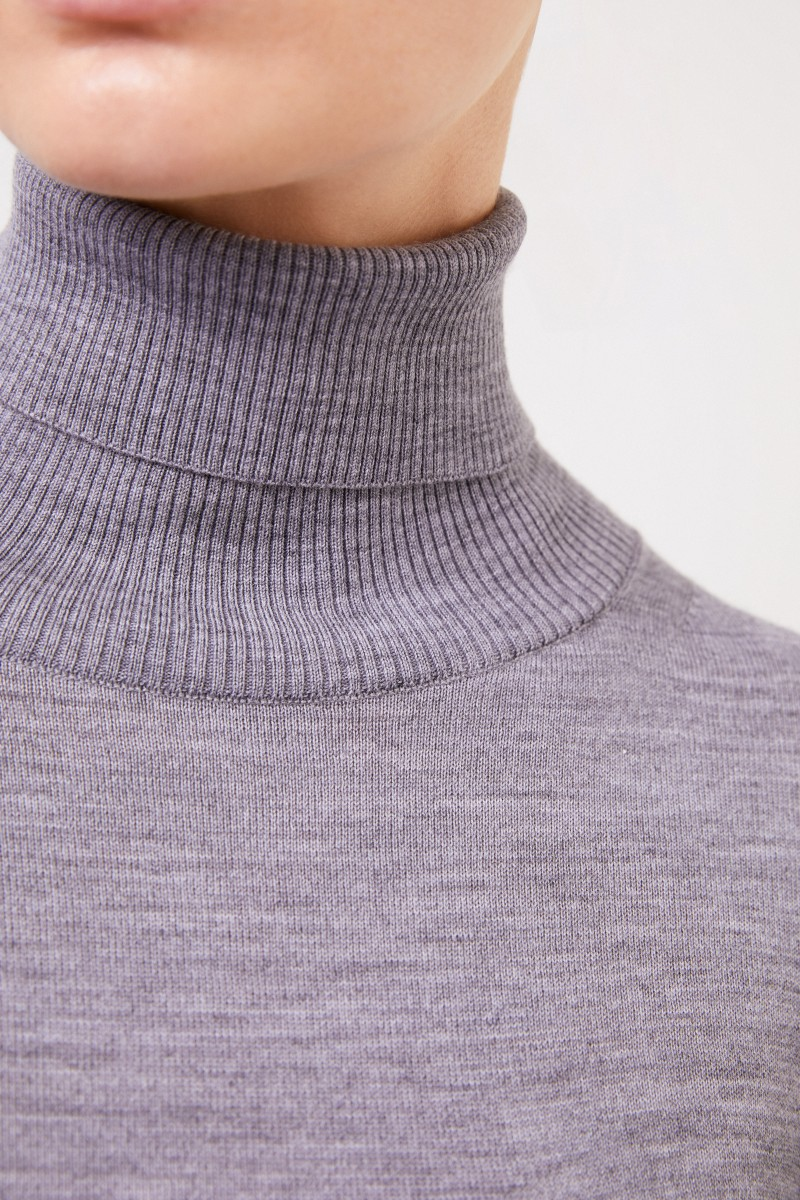 Sacai Wollkleid mit Lace-Detail Grau/Crème