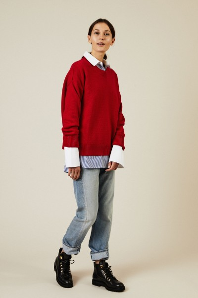 Woll-Cashmere-Pullover Rot